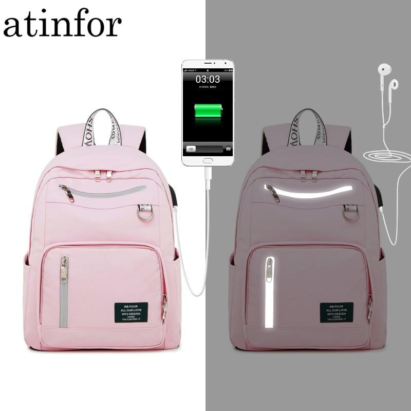 Atinfor USB Charging Waterproof Backpack Women Anti Theft ReflectiveTravel Bagpack Laptop School Bookbag For Teenage Girls