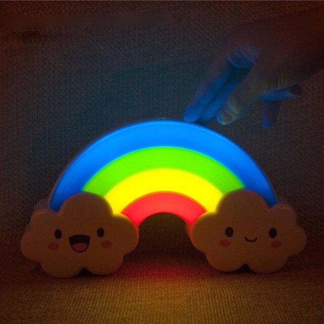 СИД Радуга Ночь Свет Звук Голоса Датчик Контрольной Лампы для Бади Спальня с Стикер Стены