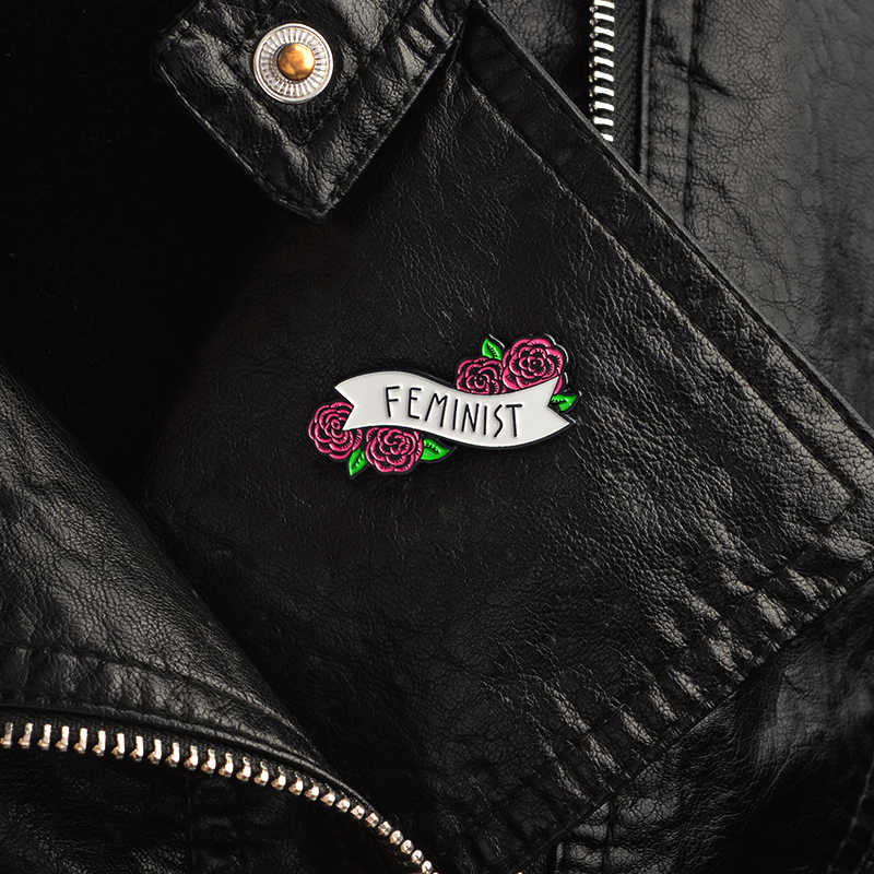 Red Rose Floral Feminist Pins Badges Brooches Enamel Lapel Pin Backpack Bag  Accessories Gift for Women girls