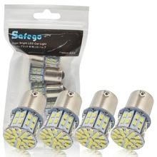 цена на 4pcs 1156 BA15S LED Car Bulbs-Safego P21W Turn Signal Light 7506 50 SMD 3014 White Lamp 6000K 12V Reverse lights Brake Lights