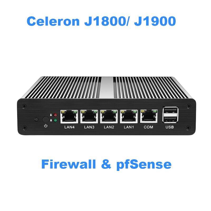 Fanless Mini PC pFsense Celeron J1800 J1900 Quad Core 4 Gigabit LAN Firewall Router Windows 10 HTPC Thin Client 4 RJ45 LAN VGA ducky one cherry mx red