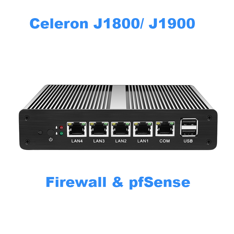 Fanless Mini-pc Celeron J1800 J1900 Quad Core 4 pFsense Gigabit LAN Router Firewall do Windows 10 HTPC Thin Client 4 RJ45 LAN VGA