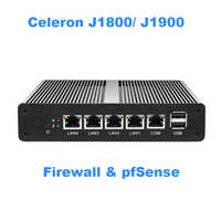 Fanless Mini PC pFsense Celeron J1800 J1900 Quad Core 4 Gigabit LAN Firewall Router Windows 10 HTPC Thin Client 4 RJ45 LAN VGA