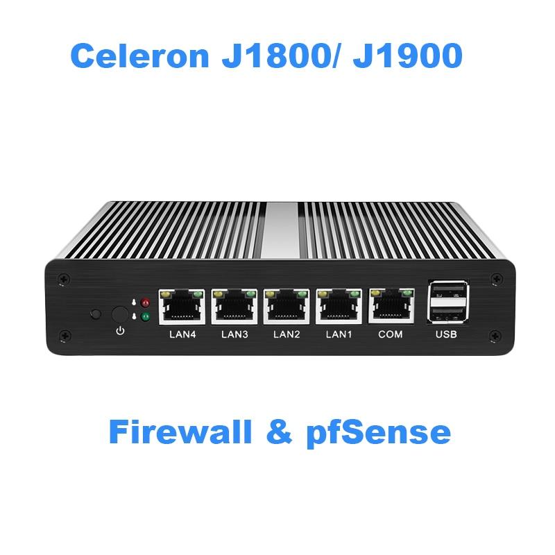 Mini PC Fanless Mini PC pFsense Celeron J1800 J1900 Quad Core 4 Gigabit LAN Firewall Router Finestre 10 HTPC Thin Client 4 RJ45 LAN VGA