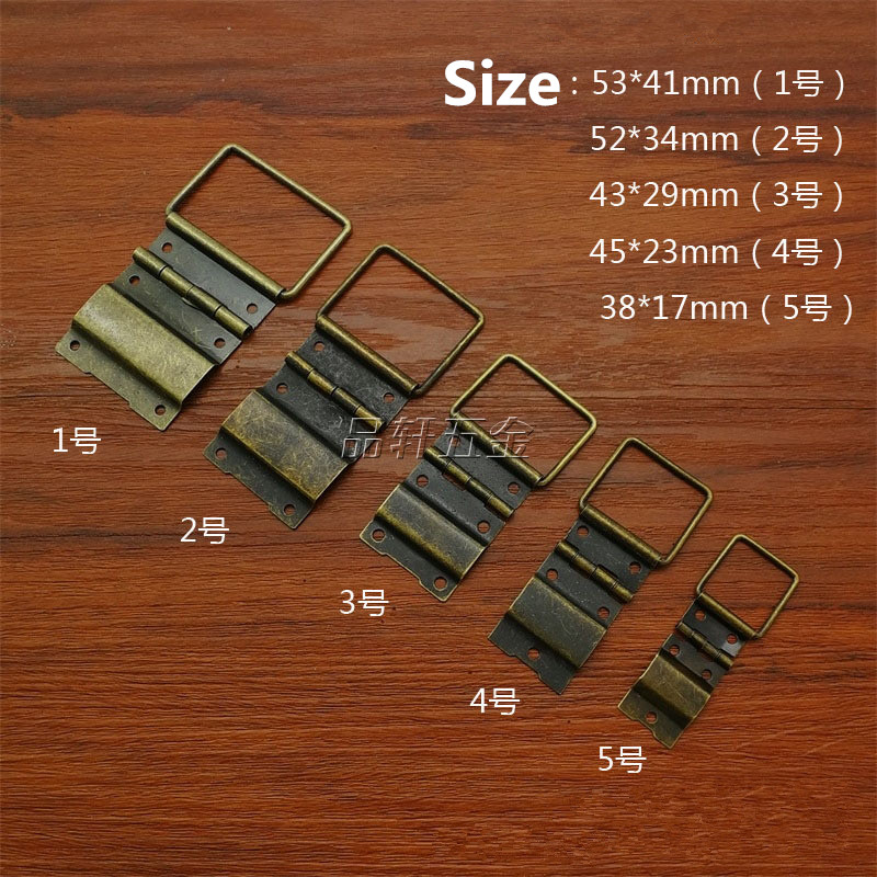 30 Pcs 53*41mm big Cabinet Drawer Door Butt Hinges Antique 6 Holes Jewelry Boxes Decorative Hinges for Furniture Hardware