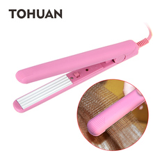 TOHUAN Pink Mini Fluffy Hair Crimp Iron Ceramic Hair