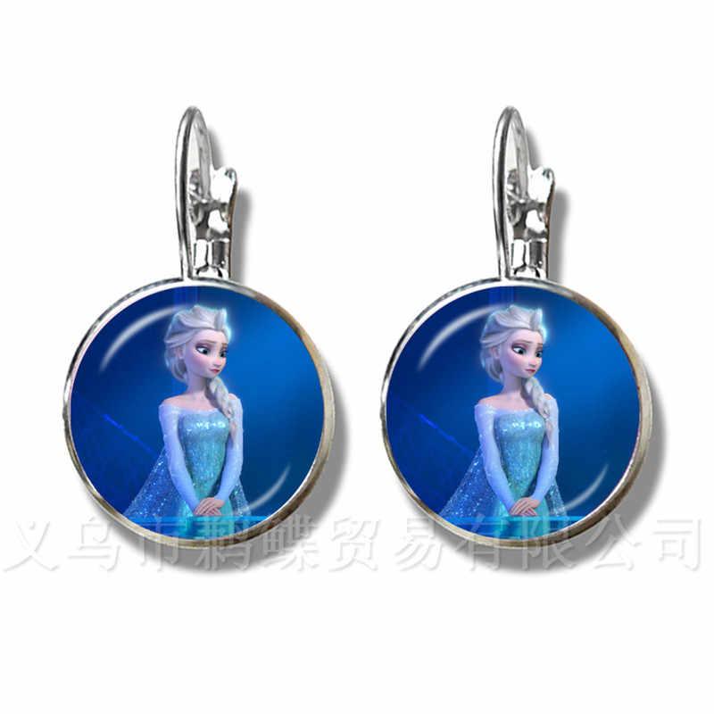 Yeni Bayanlar Damızlık Küpe Takı 16mm Cam Cabochon Prenses Elsa Anna Kar Kraliçesi Gümüş Kaplama Küpe Arkadaşlar Için