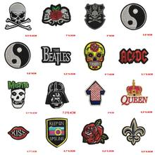 1PCS Letter Skull Punk Patch Biker Unicorn Kids Iron On Cartoon Patches Cheap Embroidered Cute Band Patches For Clothing Jeans(China)