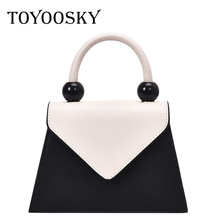 TOYOOSKY Fashion Simple Small Square Bag Womens Designer Handbag 2019 High-quality PU leather Panelled Chain Shoulder Bags