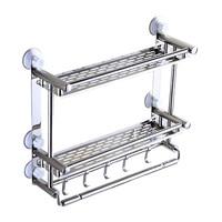 Bathroom Shelf Kitchen Spice Rack Wall 2 Layer Stainless Steel Bathroom Toilet Storage Rack Perforated