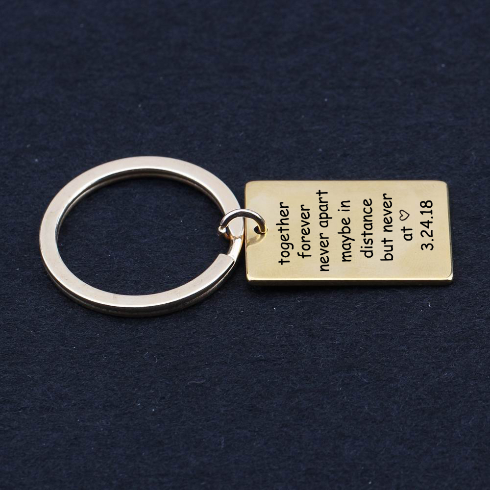 US $3 98 50% OFF|engraved together forever never apart key chain Long  Distance Relationship Friendship Date custom keychain sister couples-in Key