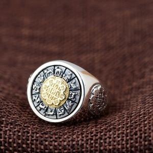 Image 2 - 100% prawdziwe 925 Sterling Silver Thai srebrny obrócone pierścienie na prezent dla mężczyzny trigram pierścień Vintage Fashion biżuteria męska Anillos A1641