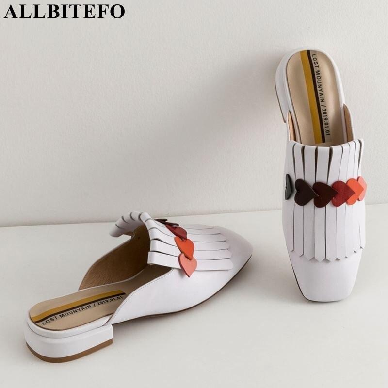 ALLBITEFO comode delle donne di cuoio genuino di modo scarpe di alta qualità scarpe delle signore del partito delle donne di estate pantofole donne tacchi-in Pantofole da Scarpe su  Gruppo 1