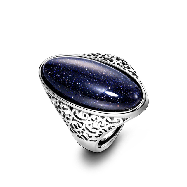 Sterling Silver Jewelry Vintage Blue Elegant Ring
