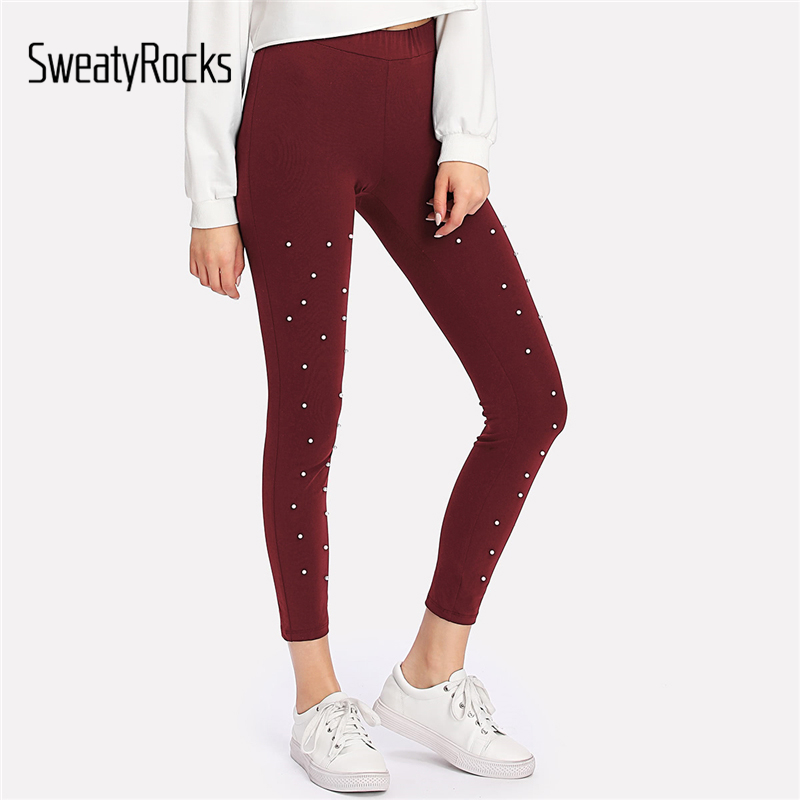 SweatyRocks Pearl Beading Leggings 2018 Female Spring New Arrival Burgundy Woman Trousers Crop Plain Skinny Plain Leggings