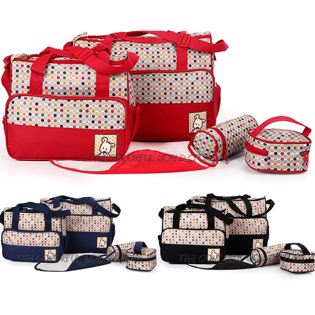 5 unids/set mensajero multifuncional bolsa bolso de mano bolsas de pañales bolsas momia maternidad compra 4 modelos