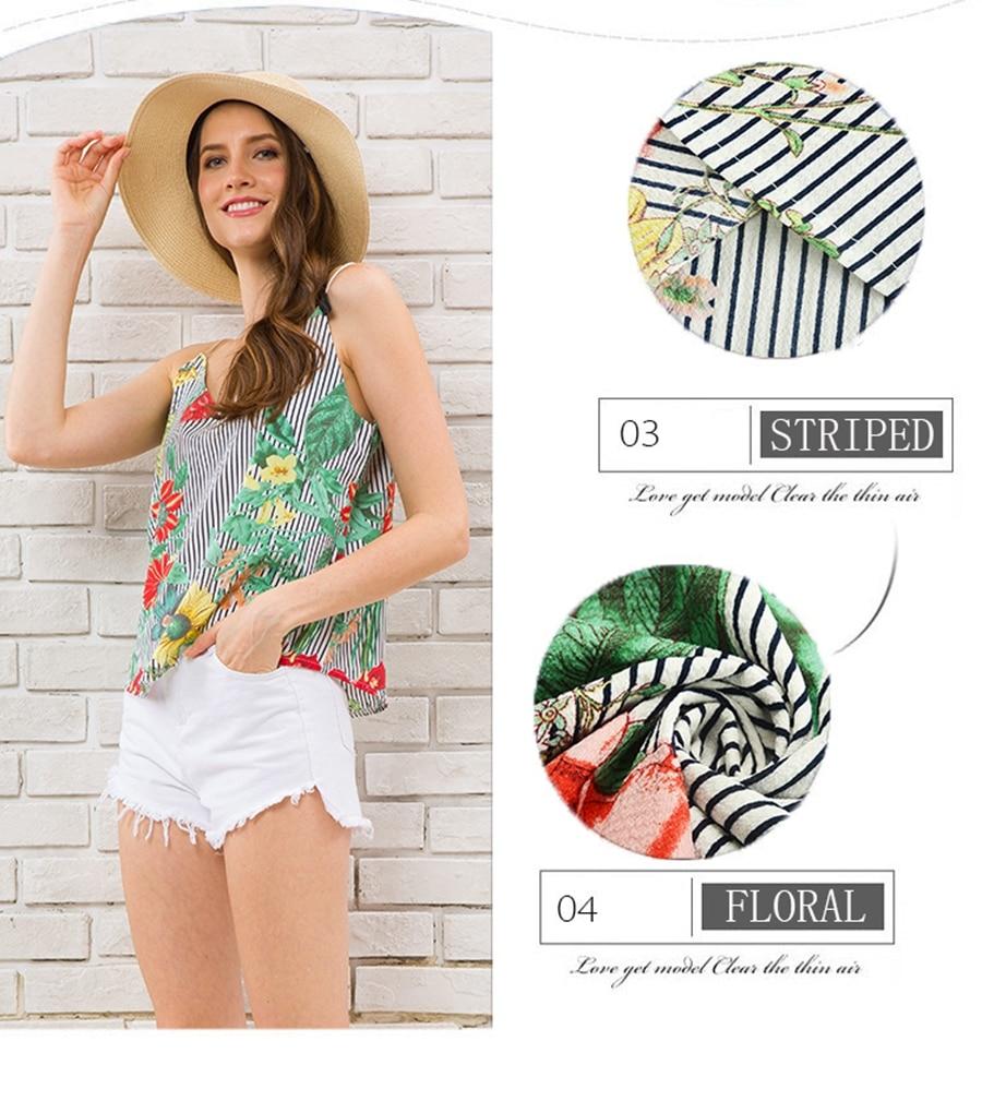 HTB1sX IzeySBuNjy1zdq6xPxFXac - Striped Tank Top Women Flower Print V-neck Sleeveless Summer Camis 2018 Fashion Beach Wear Off Shoulder Shirt Female Clothing
