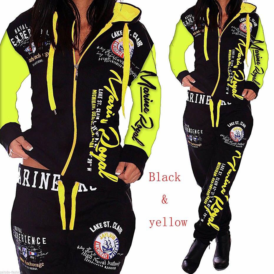 Zogaa 2018 new Womens Sets Hoodies Pant Clothing 2PCS Set Warm New Women Ladies letter Tracksuit Set 2pcs Tops Pants Suit Female