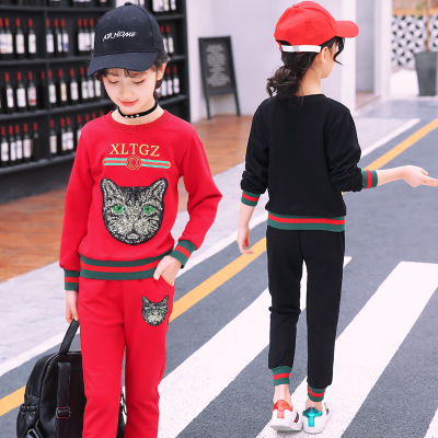 2018 spring new childrens clothing girls Korean version of the cat head pattern cotton childrens long sweater two-piece socks