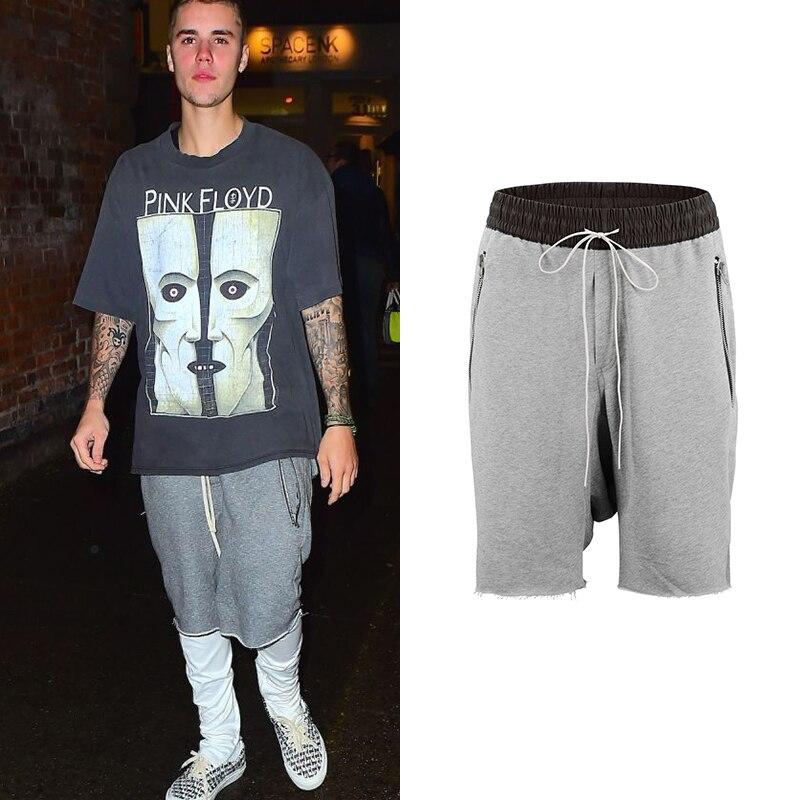 Justin Bieber De La Entrepierna De La Gota Pantalon Pantalones Cortos De Streetwear Mens Lado Cremallera