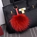 Hearts Q Jewelry Pompom Porte Clef Pompom Fur Key Chain 15CM Big Size Real Fur Pompom Bag Chian Kechain Bag Real Leopard Fur