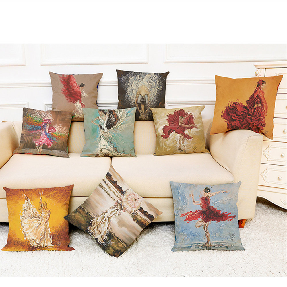 Vintage Multicolor Watercolor painting Home Decoration Cushion Cover  45 * 45cm Sofa Waist Throw Pillow Covers as gift for send-in Cushion Cover from Home & Garden
