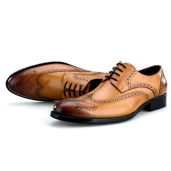 Large Size EUR45 Black / Brown / Brown tan Brogue Business Shoes Genuine Leather Dress Shoes Male Prom Shoes