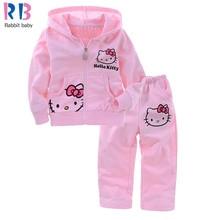 Девушки Костюм Младенца детская одежда установить розовый костюм дети удовлетворить Hello Kitty костюм KT кот Рубашка + Брюки 2 Шт. Розничная