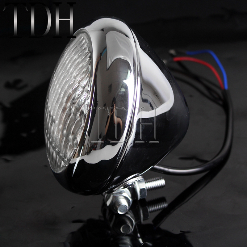 Motorcycle Chrome Headlight Front Headlamp H4 4 5inch For Harley Sportser Road King Cafe Racer Bobber Chopper TRI XS650 Custom