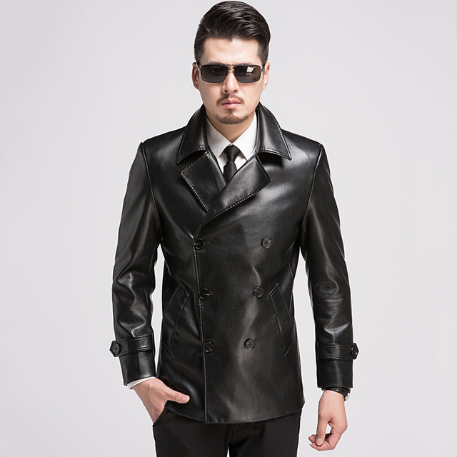 New Winter Leather Jacket Men Double-breasted Slim Motorcycle Leather Jackets Mens Leisure Suit Collar Leather Coat Men Black