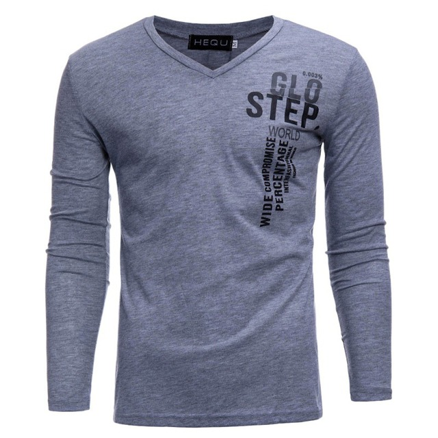 2a212bc1db75 Fashion Men s Tight Tops Letter Printed V Neck Tee Shirt Casual Long Sleeve  T-Shirts MaleTops z1