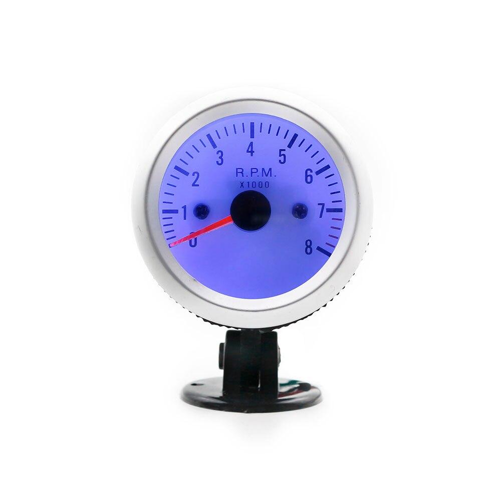 New Universal 2 52mm Tachometer Gauge 0 8000 RPM Blue LED Digital Car Tachometer Car Clock