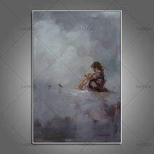 Cute girl Hand Painted Modern Abstract Oil Painting On Canvas beautiful portrait picture Wall Art For Living Room Home Decora