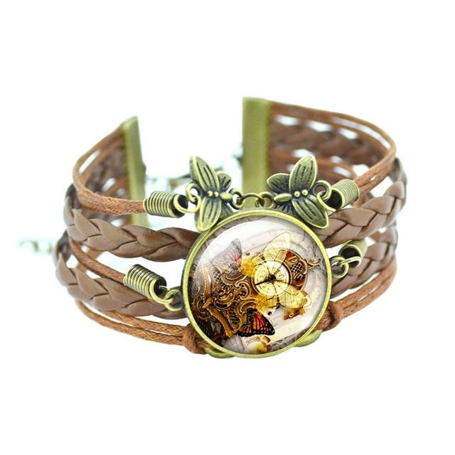 Classic Butterfly Bracelets Glass Cabochon Bronze and Leather Bracelet