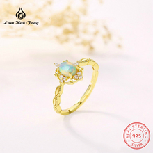Classic Luxury Natural Stone Ring for Women 925 Sterling Silver natural Moonstone Peridot Opal Blue Rose Gold Color