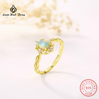 Classic Luxury Natural Stone Ring for Women 925 Sterling Silver natural Moonstone Peridot Opal Blue Stone Rose Gold Color Ring