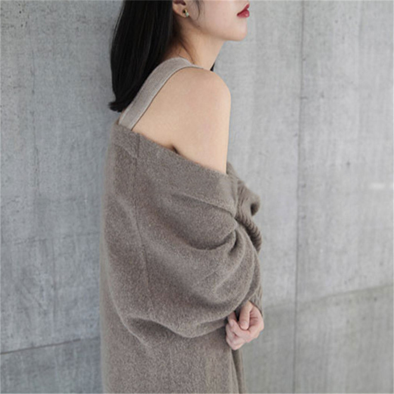 Autumn And Winter New Cashmere Coat Women's Long Section Thick Loose Sweater Wool Knit Jacket