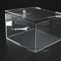 Rectangle Locking Countertop Tray Box Jewelry Display Case Tabletop Storage Showcase Clear