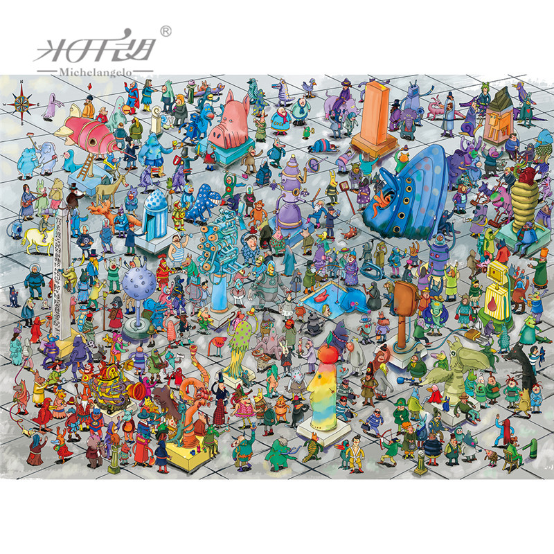 Michelangelo Wooden Jigsaw Puzzle 500 1000 1500 2000 Piece Monsters Plaza Cartoon Animal Kid Educational Toy Painting Home Decor