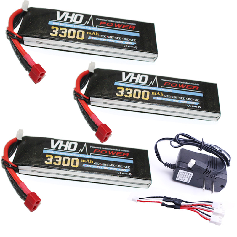 VHO RC Drone LiPo battery 3pcs 2S 7.4V 3300mAh 30C and UL charger For RC Airplane Helicopter Quadrotor Truck Li-ion battery 3pcs 3 7v 900mah li po battery 3 in 1 black us regulation charger and charging cable for rc xs809 xs809hc xs809hw drone