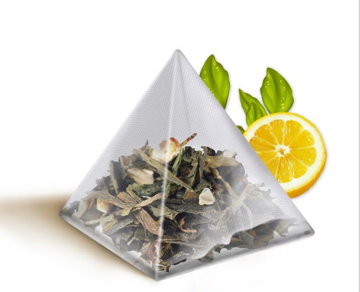 5000 stucke pyramide tee taschen filter nylon teebeutel einzelnen string mit label transparent leere tee taschen 5 5 7 cm in 5000 stucke pyramide tee