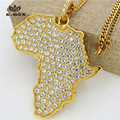 "New  Gold Plated Big Africa Map Iced-Out Pendant Charm  28"" Cuban Chain Necklace African Fashion Jewelry Women/Men Gift"