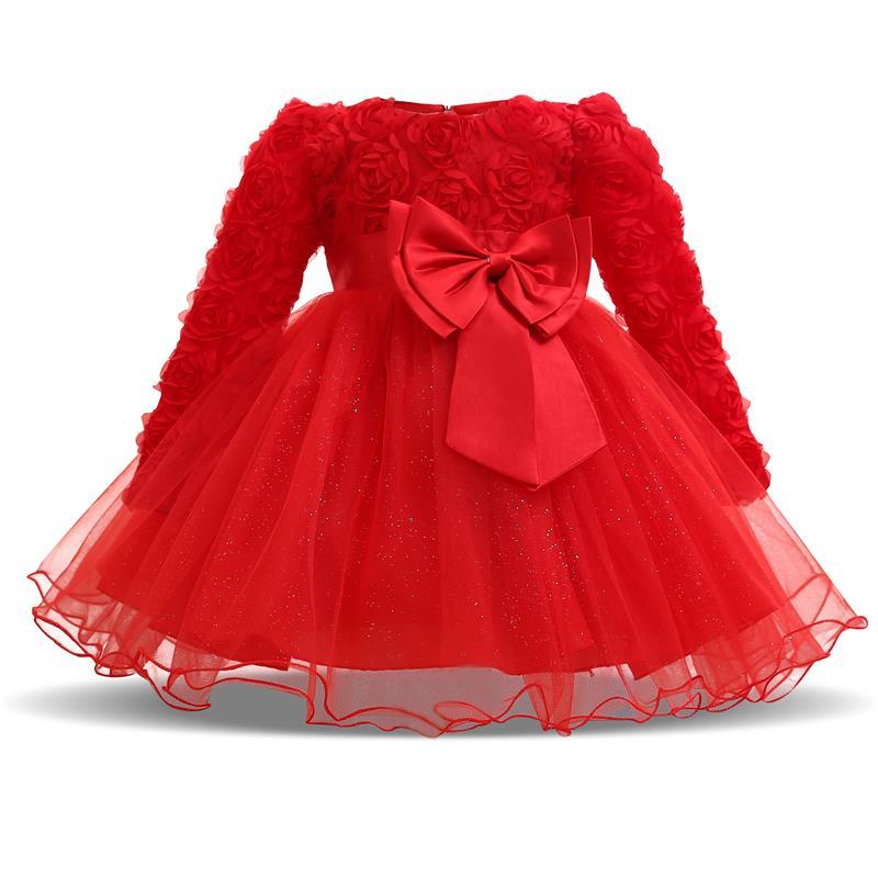 Baby Girls Stripe Print Long Sleeve Princess Dress Cotton Party Birthday Dress