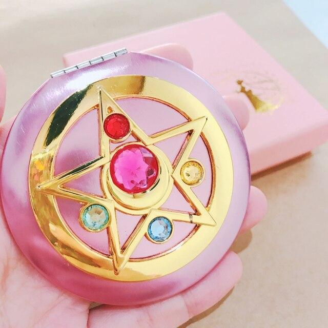 Sailor Moon Crystal Pink Metal Compact Mirror Case Moonlight Memory Series Women Girls Cosplay Cosmetic Make up Mirror + Box