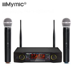 IU-302 UHF 600-700MHz Dual Channel 2 Handheld Mic Transmitter Professional Wireless Microphone System with Screen for Karaoke