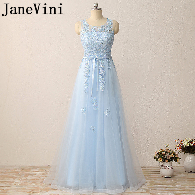 JaneVini Elegant Long   Bridesmaid     Dresses   Sheer Scoop Neck Sequined Beaded Lace Appliques A-Line Floor Length Formal Prom Gowns