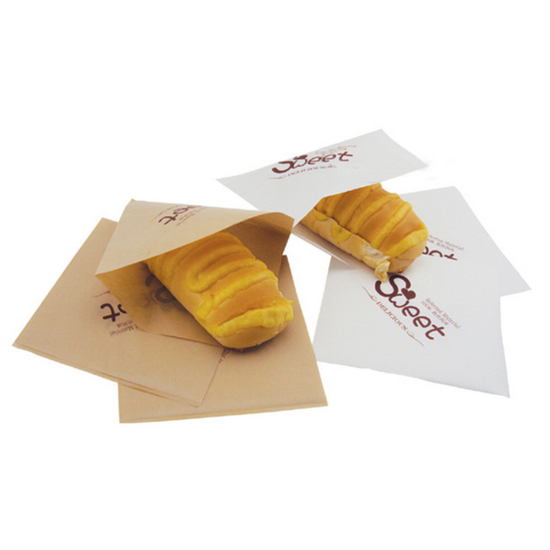 100pcs/lot 15CM Chips Biscuit Snack Package Bag Party Fried Food Dessert Grease Proof Bag Triangular Opening Oilproof Paper Bags