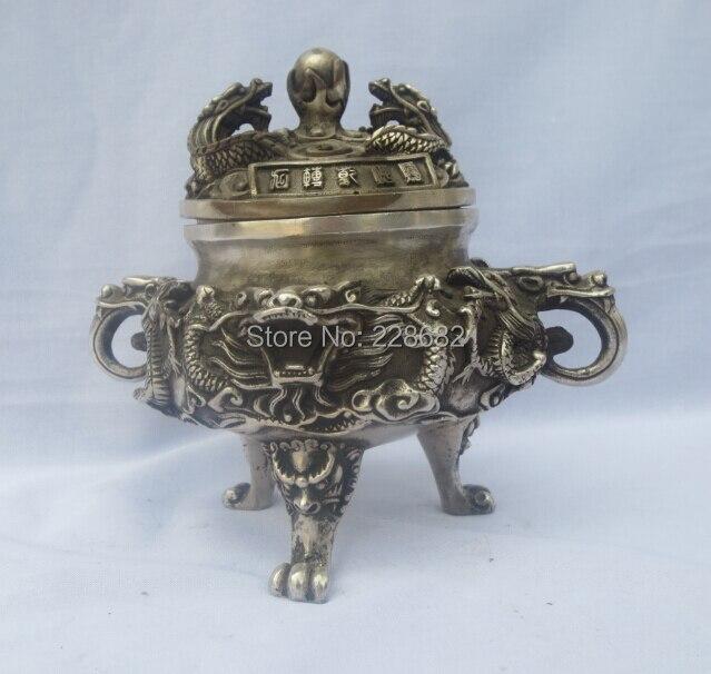 Antique Antyki Stary Handwork Tybet Srebrny Rzeźbione 2 smok zagraj koraliki Kadzidła Palnika/Statua Darmowa wysyłka