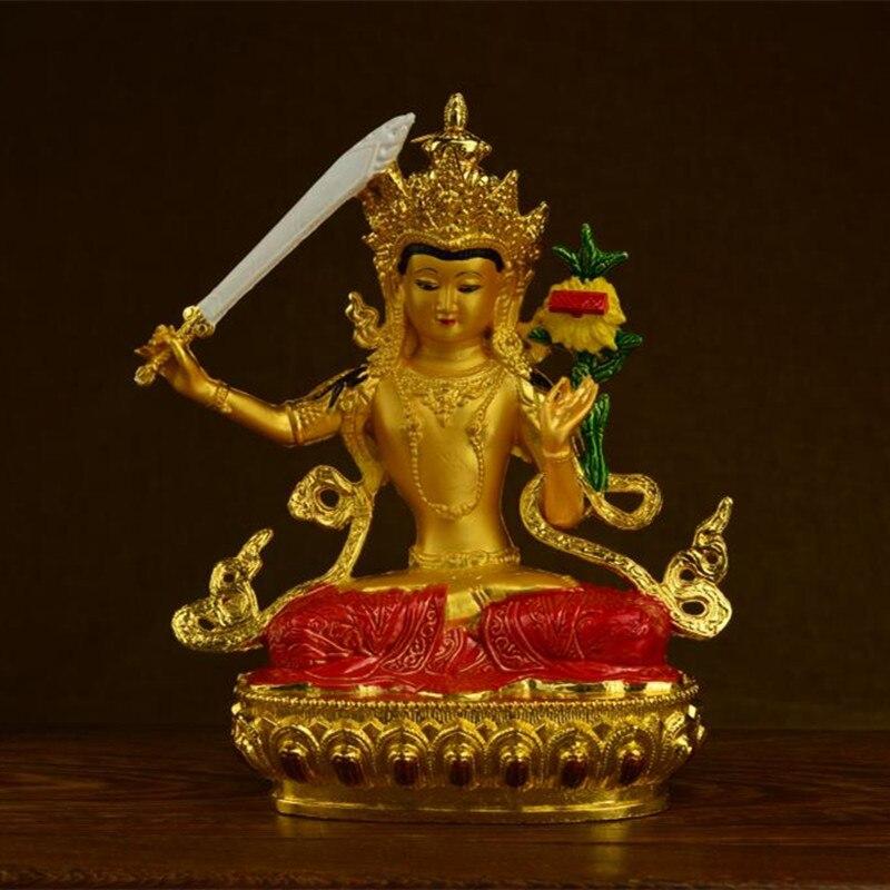 Alliage Zinc dorure multicolore 14.8cm bouddhiste Manjushri bouddha Statue Tranic efficace Talisman mettant des ornements de maison/bureau