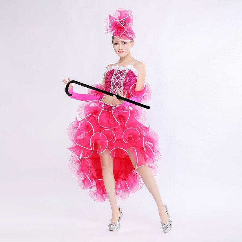 (top+skrit+cuff)female costume modern dance clothing jazz dance costumes sequined dresses pink adult clothing singer dancer star